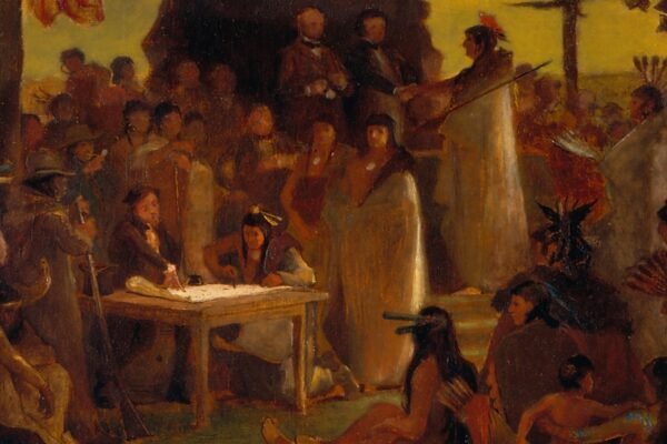 Millet, Francis Davis. The Signing of the Treaty of Traverse des Sioux. 1905. Nicollet County Historical Society Collections.
