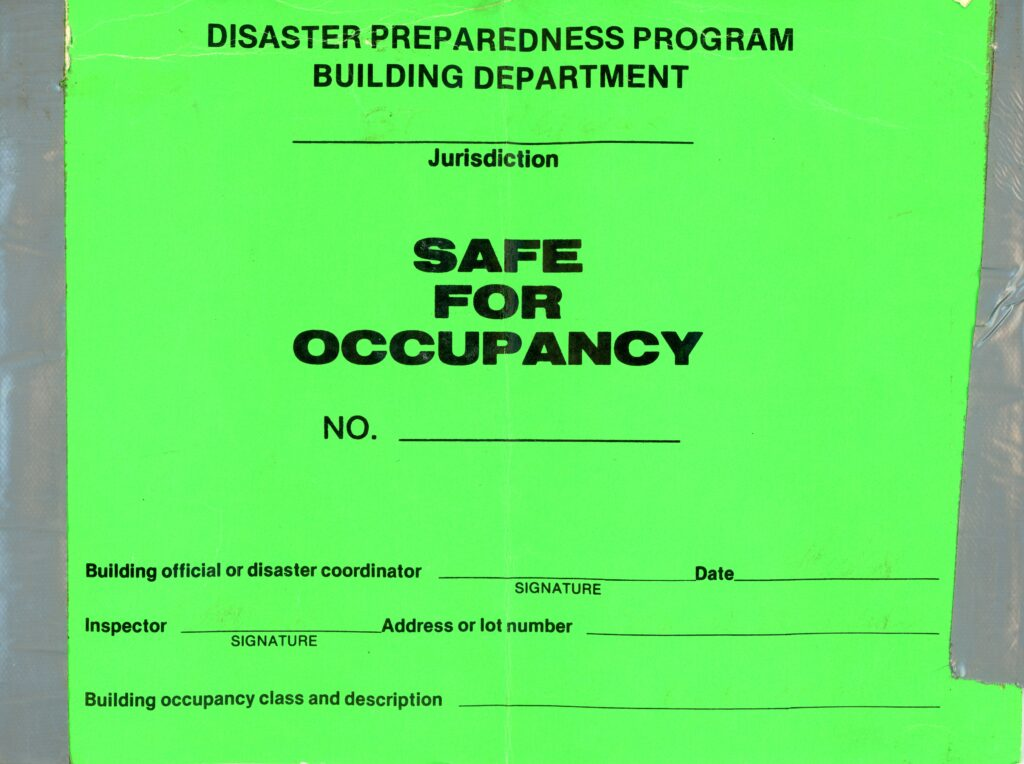 Safe for Occupancy sign