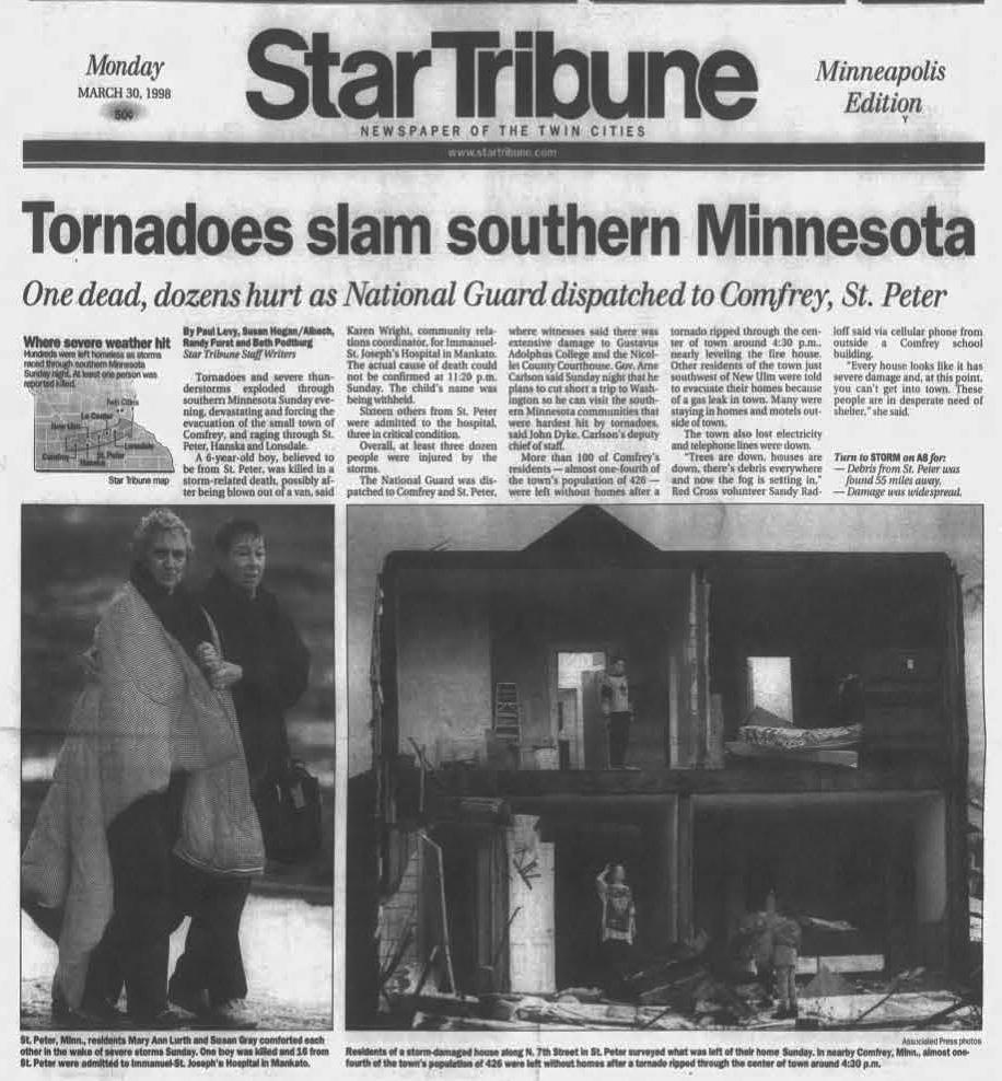 Star Tribune. Mon. Mar. 30, 1998